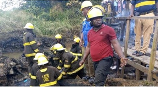 PHOTOS: Emergency workers at Lagos pipeline explosion scene