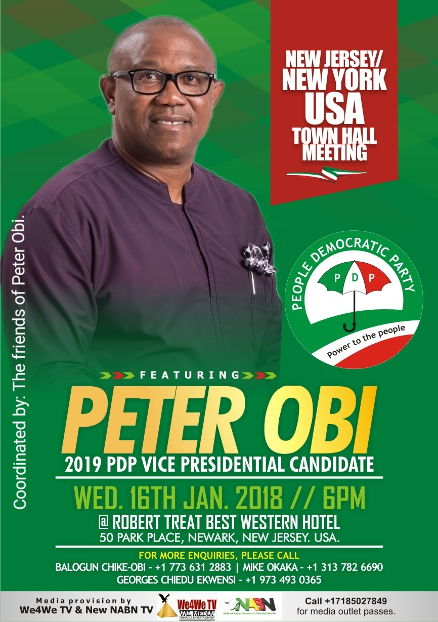 """THE """"FRIENDS OF PETER OBI""""  NEW JERSEY/ NEW YORK JAN 16 TOWNHALL FLYER With We4We TV and NABN TV"""